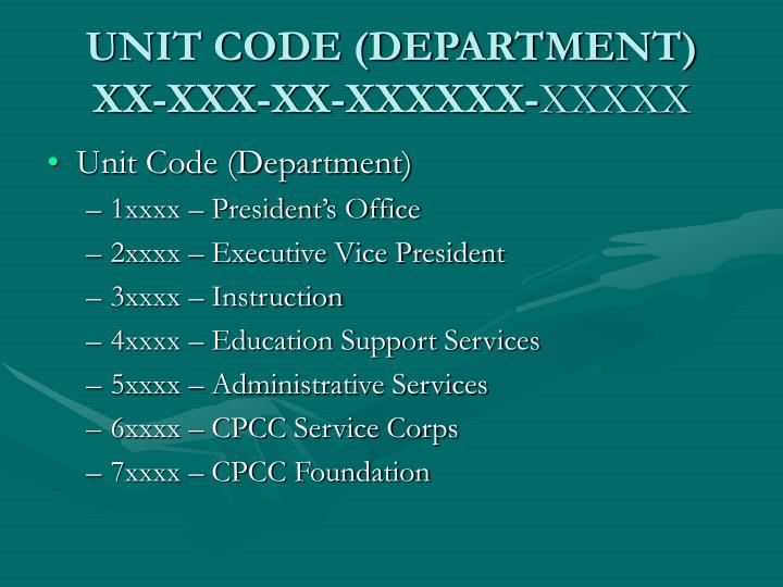 UNIT CODE (DEPARTMENT)
