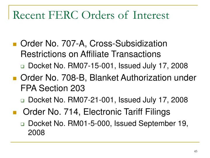 Recent FERC Orders of Interest