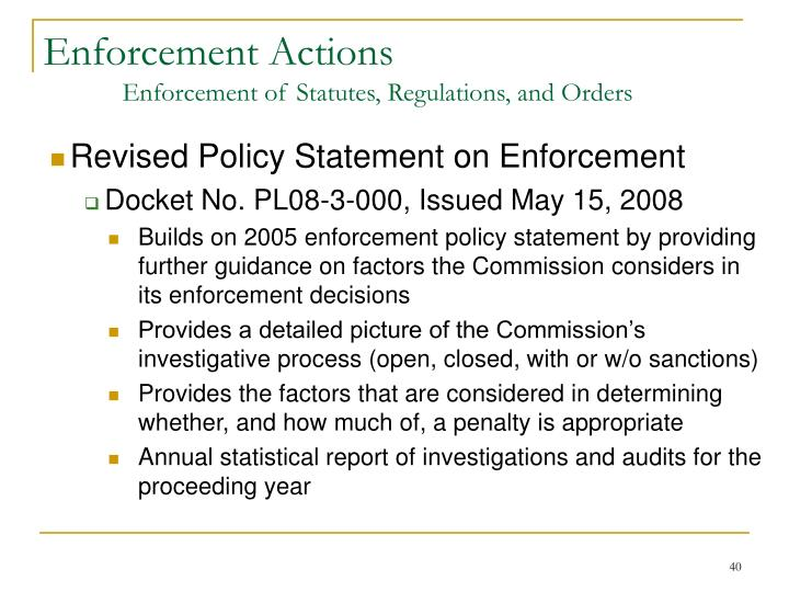 Revised Policy Statement on Enforcement