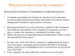 which involvement from the community