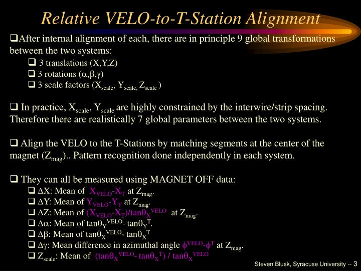 Relative velo to t station alignment