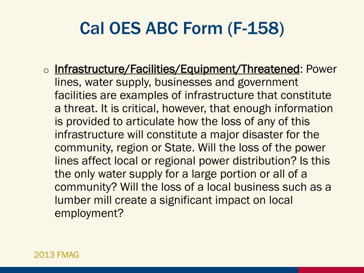 Cal OES ABC Form (F-158)