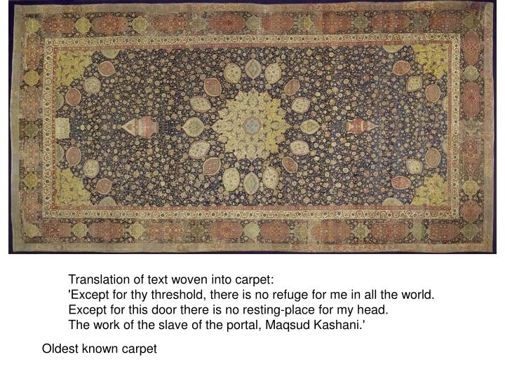 Translation of text woven into carpet: