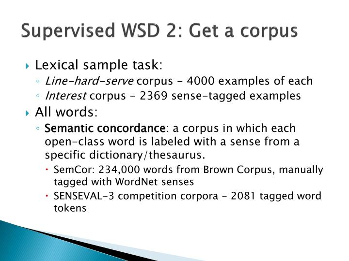 Supervised WSD 2: Get a corpus