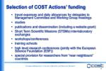 selection of cost actions funding