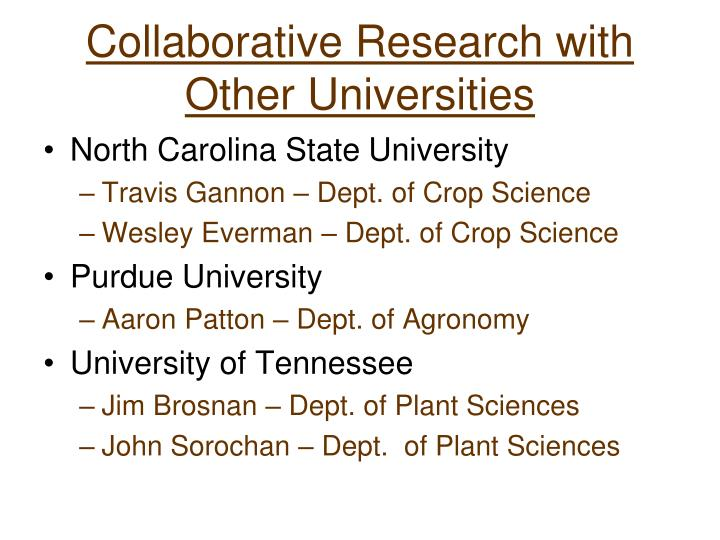 Collaborative Research with Other Universities