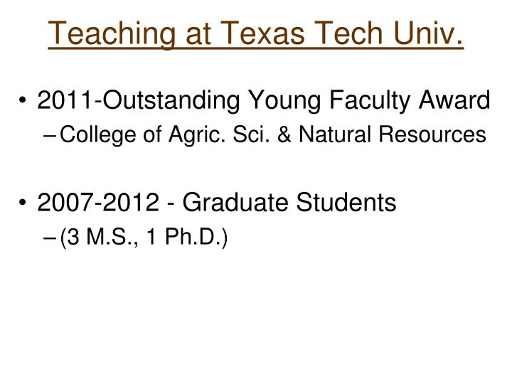 Teaching at Texas Tech Univ.