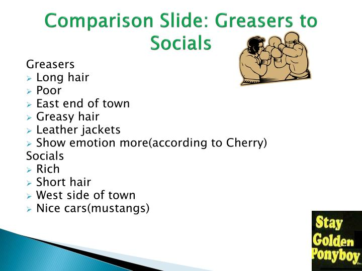 Comparison slide greasers to socials