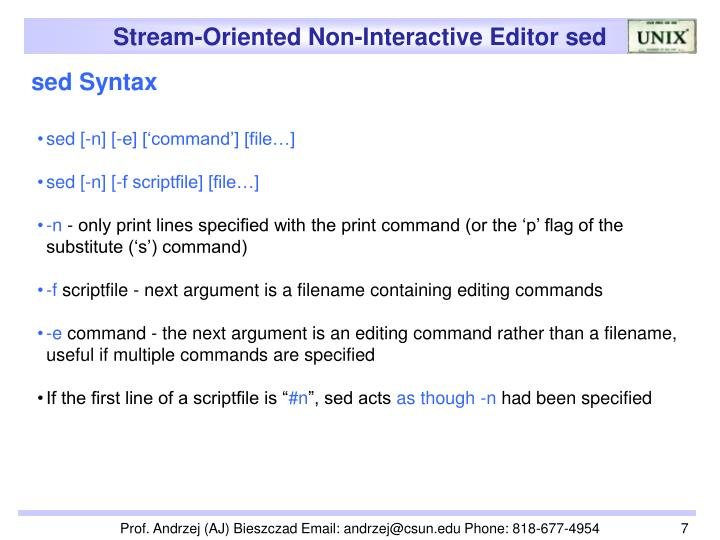 sed Syntax