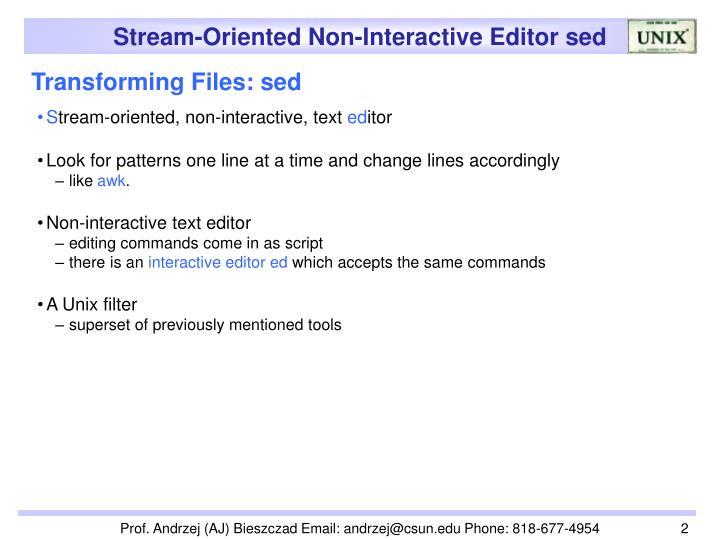 Transforming files sed