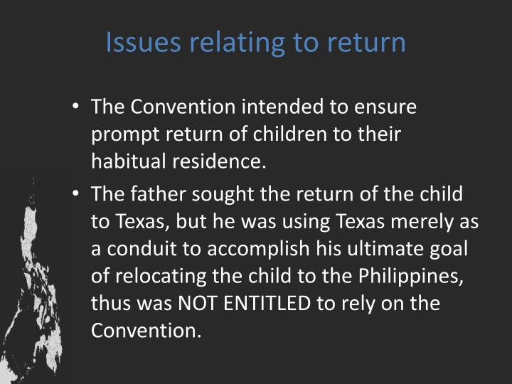 Issues relating to return