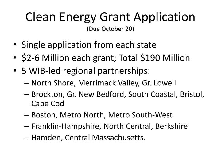 Clean Energy Grant Application
