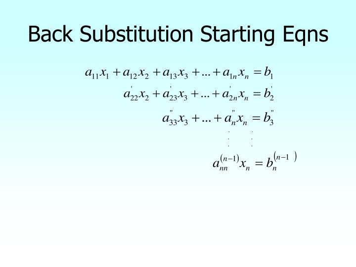 Back Substitution Starting Eqns