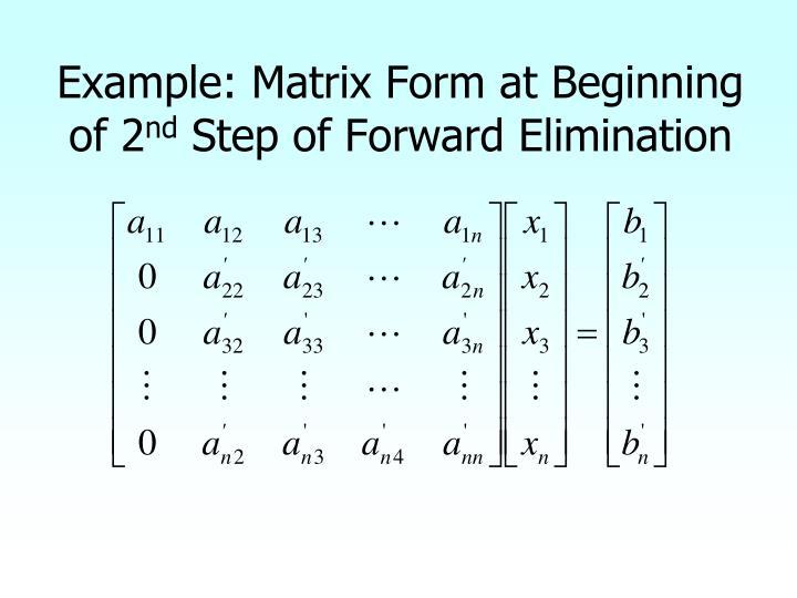 Example: Matrix Form at Beginning of 2