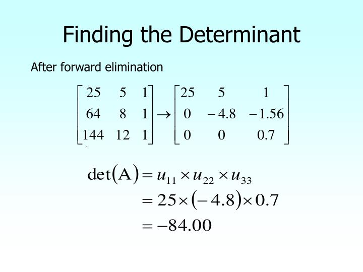 Finding the Determinant