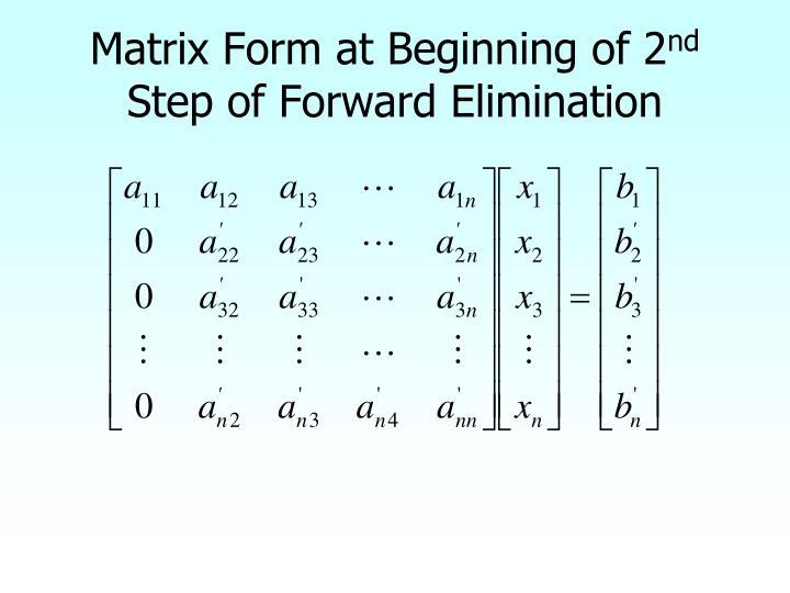 Matrix Form at Beginning of 2