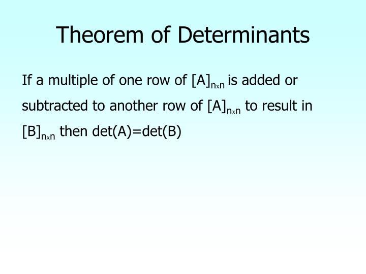 Theorem of Determinants