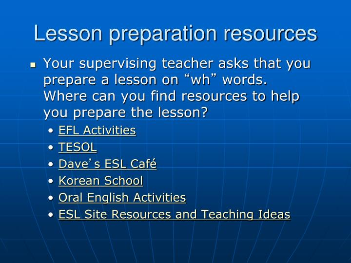 Lesson preparation resources