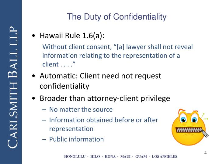 when should a lawyer reveal confidential communications It should be noted that rule 105(a) does not limit the scope of confidentiality to documents and communications subject to evidentiary privilege, and instead includes all information relating to a client or furnished by the client    acquired by the lawyer during the course of or by reason of the representation of the client.