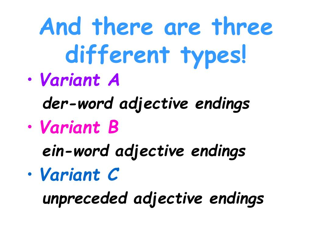 PPT - Adjective Endings PowerPoint Presentation - ID:6662949