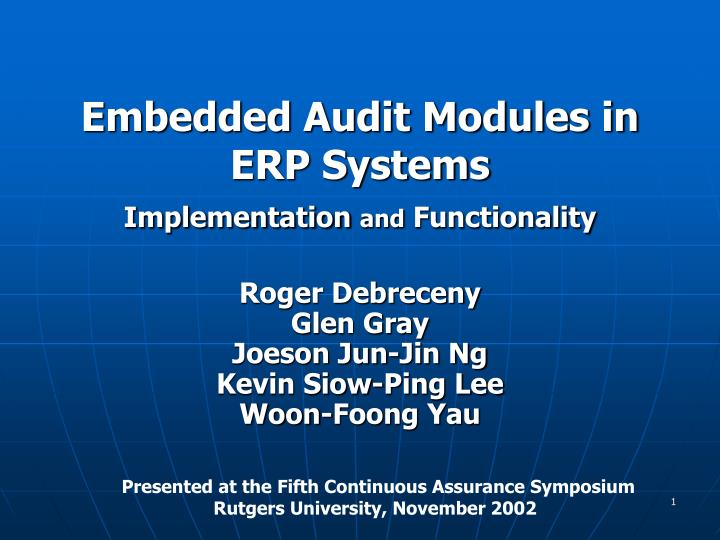 embedded audit modules in erp systems implementation and functionality n.