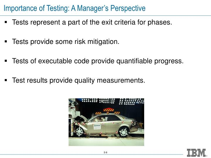 Importance of Testing: A Manager's Perspective