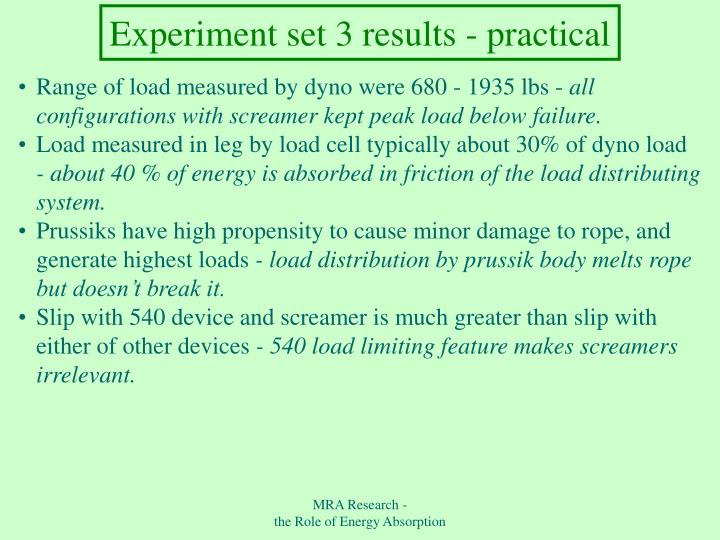 Experiment set 3 results - practical