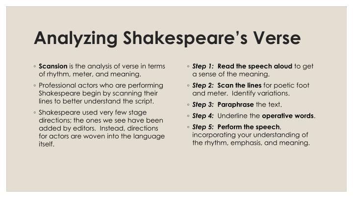 Analyzing Shakespeare's Verse