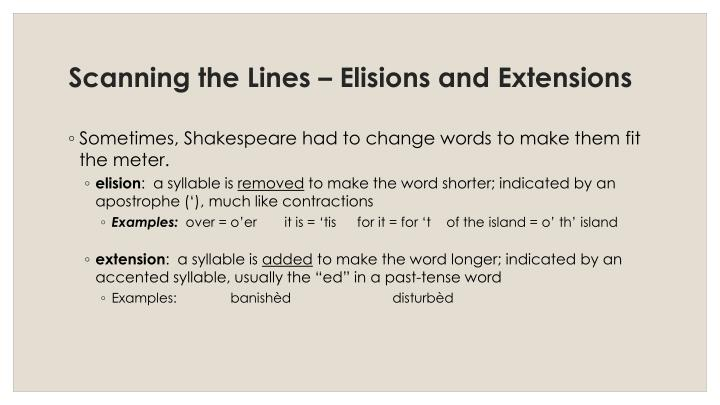Scanning the Lines – Elisions and Extensions