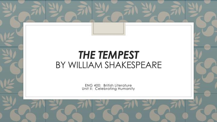 the tempest by william shakespeare n.