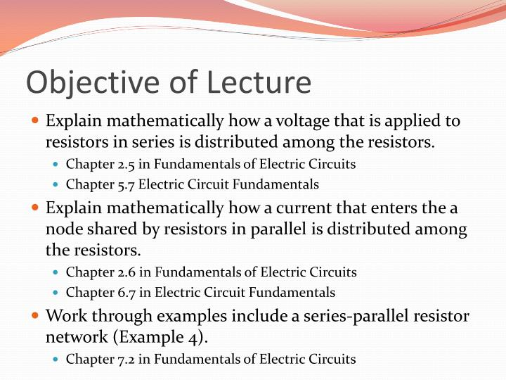 Objective of lecture