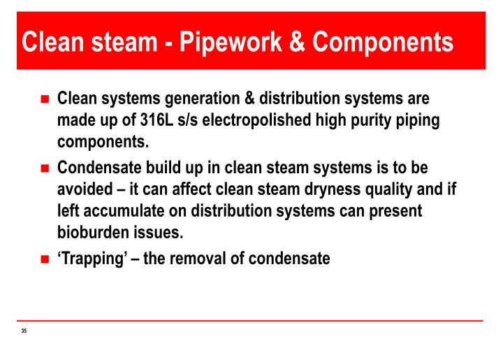 Clean steam - Pipework & Components