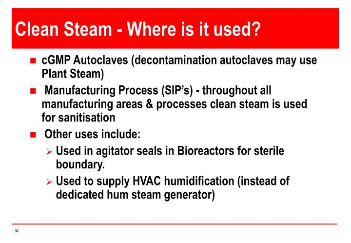 Clean Steam - Where is it used?