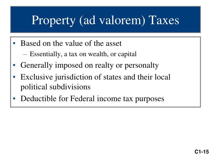 Property (ad valorem) Taxes