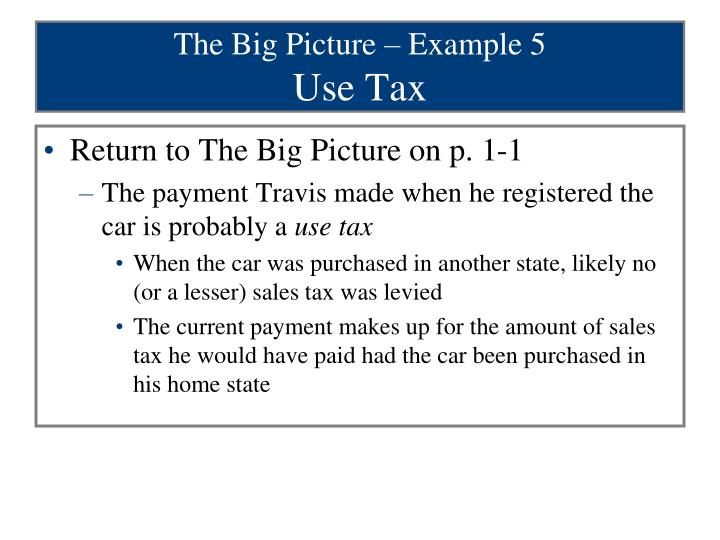 The Big Picture – Example 5