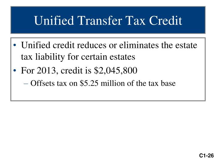 Unified Transfer Tax Credit