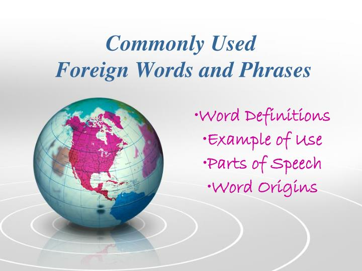 commonly used foreign words and phrases n.