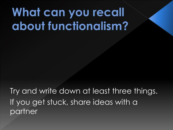 functionalism and education Functionalism is people's mental processes and behavior helps them to adapt to their environment structuralism and functionalism were two of the earliest schools of thought in psychology.
