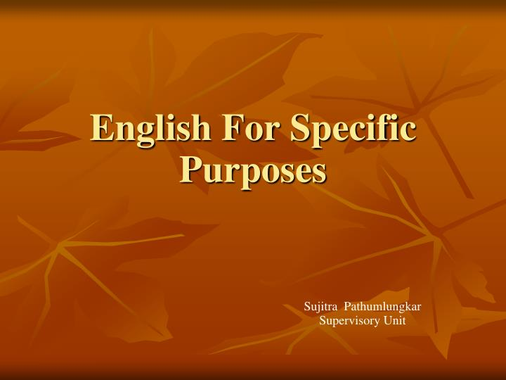 english for specific purposes n.