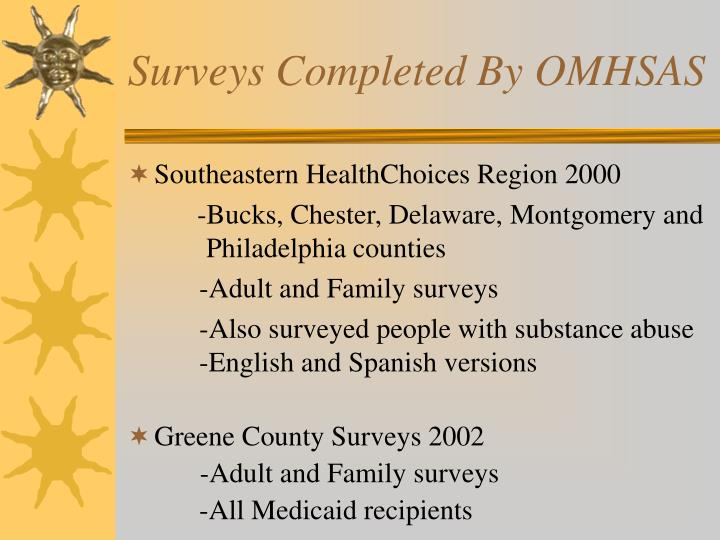 Surveys completed by omhsas