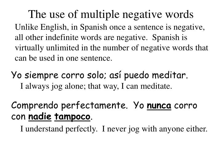 The use of multiple negative words