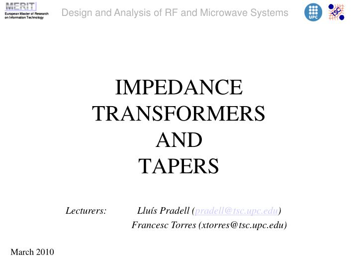 impedance transformers and tapers n.