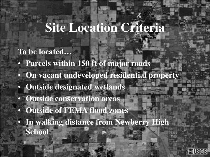 Site Location Criteria