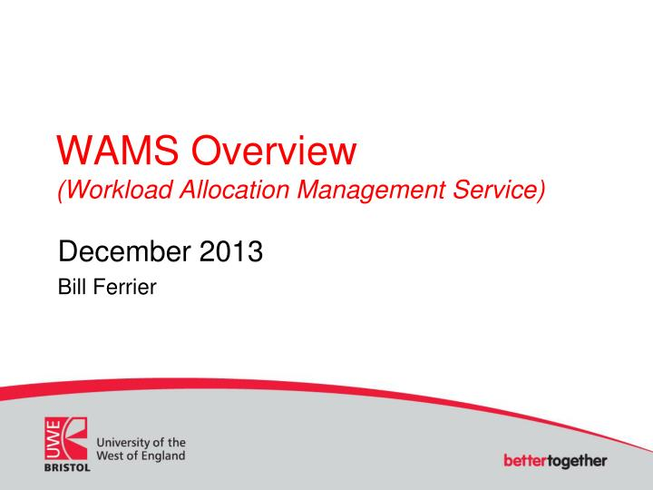 wams overview workload allocation management service n.