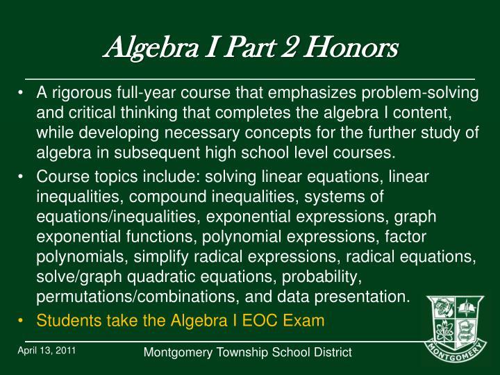 Algebra I Part 2 Honors