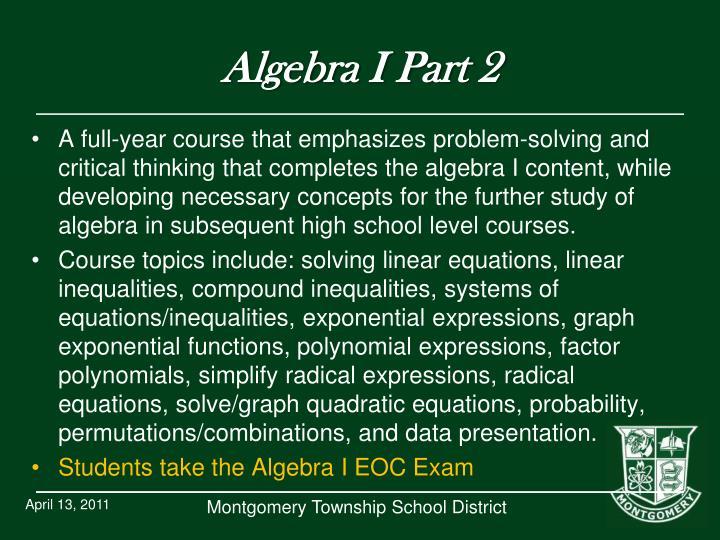 Algebra I Part 2