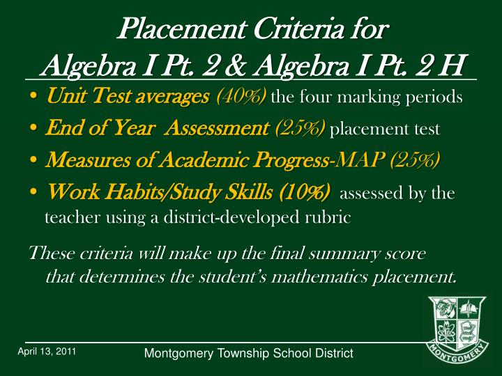 Placement Criteria for