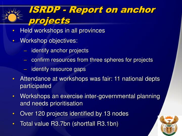 ISRDP - Report on anchor projects