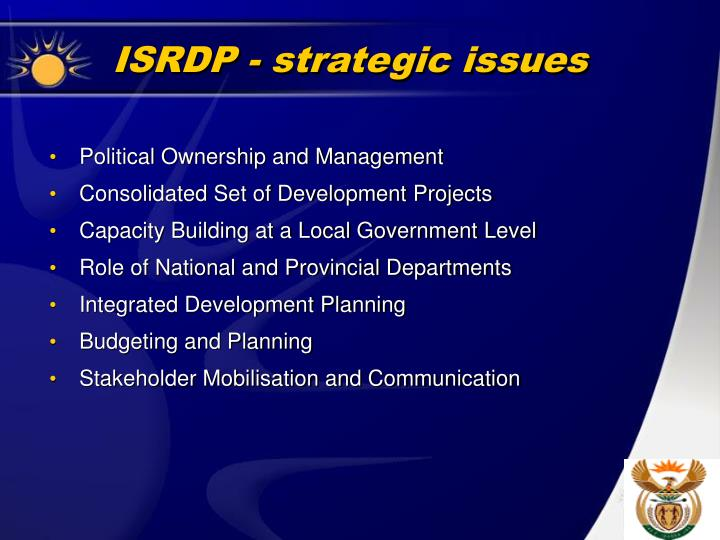 ISRDP - strategic issues