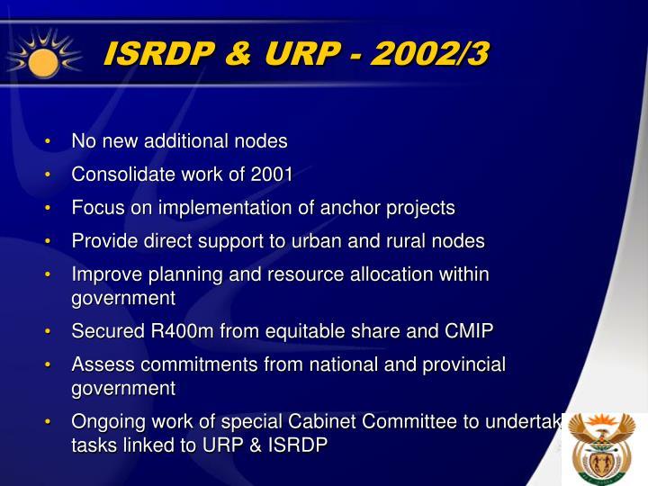 ISRDP & URP - 2002/3